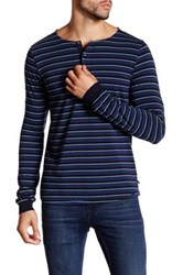 Scotch And Soda Long Sleeve Stripe Henley Blue