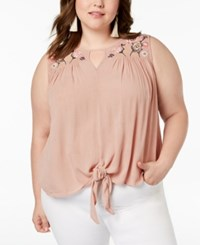 Planet Gold Trendy Plus Size Embroidered Top Adobe Rose