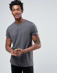 Asos T Shirt With Roll Sleeve In Black Marl Bal Marl