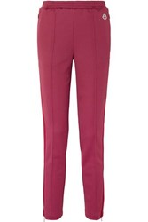 Moncler Striped Stretch Jersey Track Pants Red