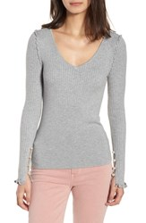 Chelsea 28 Chelsea28 Pearly Bead Detail Sweater Grey Heather