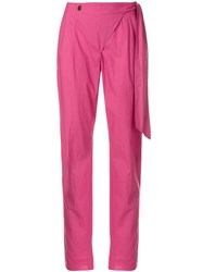 Moschino Vintage Tapered Wrapped Trousers Pink And Purple