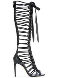 Casadei Knee Length Strappy Sandals Women Calf Leather Leather Nappa Leather 40 Black
