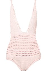 She Made Me Lalita Crocheted Cotton Swimsuit Pastel Pink