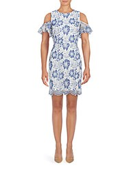 French Connection Antonia Cold Shoulder Floral Lace Dress Blue