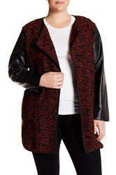 Live A Little Faux Leather Boucle Knit Jacket Plus Size Red