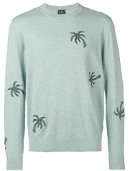 Paul Smith Ps 'Fox Tail Palm' Jumper Blue