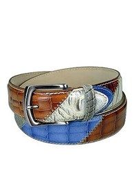 Manieri Embossed Leather Patchwork Belt Blue
