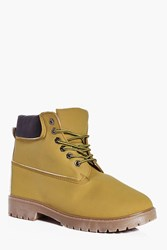 Boohoo Lined Worker Boots Camel