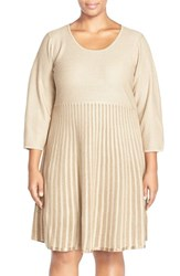 Plus Size Women's Calvin Klein Scoop Neck Fit And Flare Sweater Dress Khaki Gold Taupe
