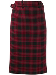 Red Valentino High Waisted Check Skirt Red