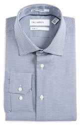 Calibrate Men's Big And Tall Trim Fit Houndstooth Stretch Dress Shirt Blue Cobalt