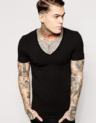 Asos Extreme Muscle Fit T Shirt With Deep V Neck And Stretch Black