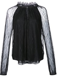 Zac Posen Sheer Blouse Black