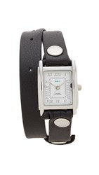 La Mer Leather Strap Wrap Watch Black
