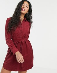 People Tree Oversize Shirt Dress In Cord Red