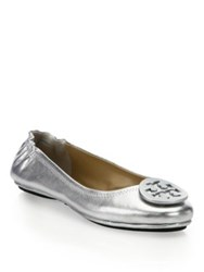 Tory Burch Minnie Metallic Leather Travel Ballet Flats Silver