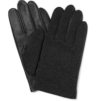 Lanvin Wool And Leather Gloves Gray