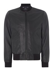 Paul Smith Men's Ps By Leather Bomber Jacket Black