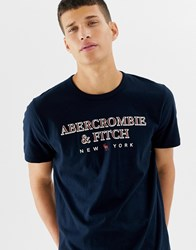 Abercrombie And Fitch Large Chest Logo T Shirt In Navy