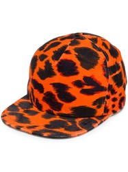 R 13 R13 Leopard Print Baseball Cap Yellow And Orange