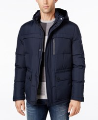 Kenneth Cole New York Herringbone Down Puffer Jacket With Removable Hood Midnight