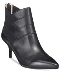 Adrienne Vittadini Sande Pointed Toe Booties Women's Shoes Black Leather