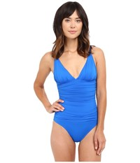 Lauren Ralph Lauren Beach Club Solids V Neck One Piece Lapis Blue Women's Swimsuits One Piece Navy
