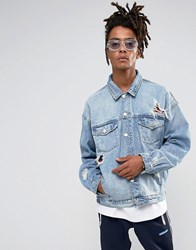Cayler And Sons Denim Jacket In Blue With Distressing Blue