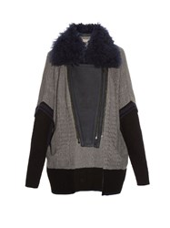 Preen Line Sally Cable Knit Biker Cardigan Grey Multi