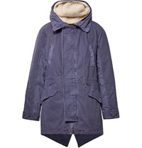 Yves Salomon Shearling Trimmed Cotton Hooded Parka With Detachable Down Lining Blue