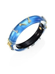 Alexis Bittar Lucite Medium Crystal Detail Spiked Bangle Blue