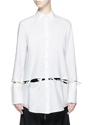 Chictopia Ribbon Tie Cutout Cotton Poplin Shirt White
