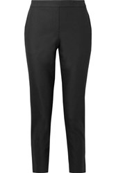 Theory Thaniel Cropped Stretch Cotton Blend Twill Slim Leg Pants Black