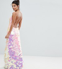 A Star Is Born Cami Strap Maxi Dress With Iridescent Overscale Sequins Pink Irredescent