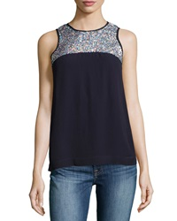 French Connection Sequined Sleeveless Top Navy Silver