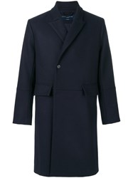 Natural Selection Thames Double Breasted Coat Polyamide Viscose Virgin Wool Xs Blue