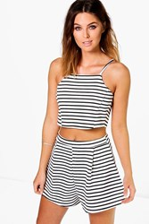 Boohoo Striped Crop Top Short Co Ord Set Black