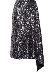 Miu Miu Draped Sequined Skirt Silver