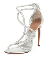 Alaia Twisted Studded Metallic Leather Sandals Gray