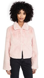 Adrienne Landau Short Faux Fur Jacket Rose