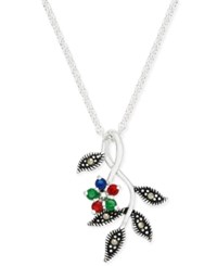 Macy's Cubic Zirconia And Marcasite Pendant Necklace In Fine Silver Plate
