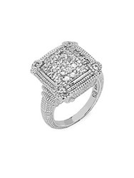 Judith Ripka Pave Linen White Sapphire And Sterling Silver Ring