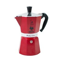 Bialetti Moka Express Colour Coffee Pot 6 Cup Red