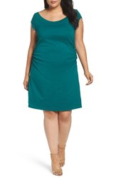 Three Dots Plus Size Women's Side Ruched A Line Jersey Dress Teal Shores