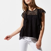 River Island Petite Black Lace Frill Front Top