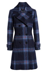 Kenneth Cole New York Brushed Plaid A Line Coat Navy Plaid
