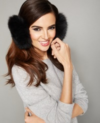 The Fur Vault Fox Fur Earmuffs Black