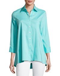 Finley Trapeze 3 4 Sleeve Blouse Plus Size Turquoise