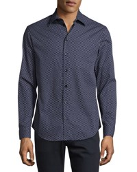 Armani Collezioni Triangle Print Sport Shirt Navy White Blue